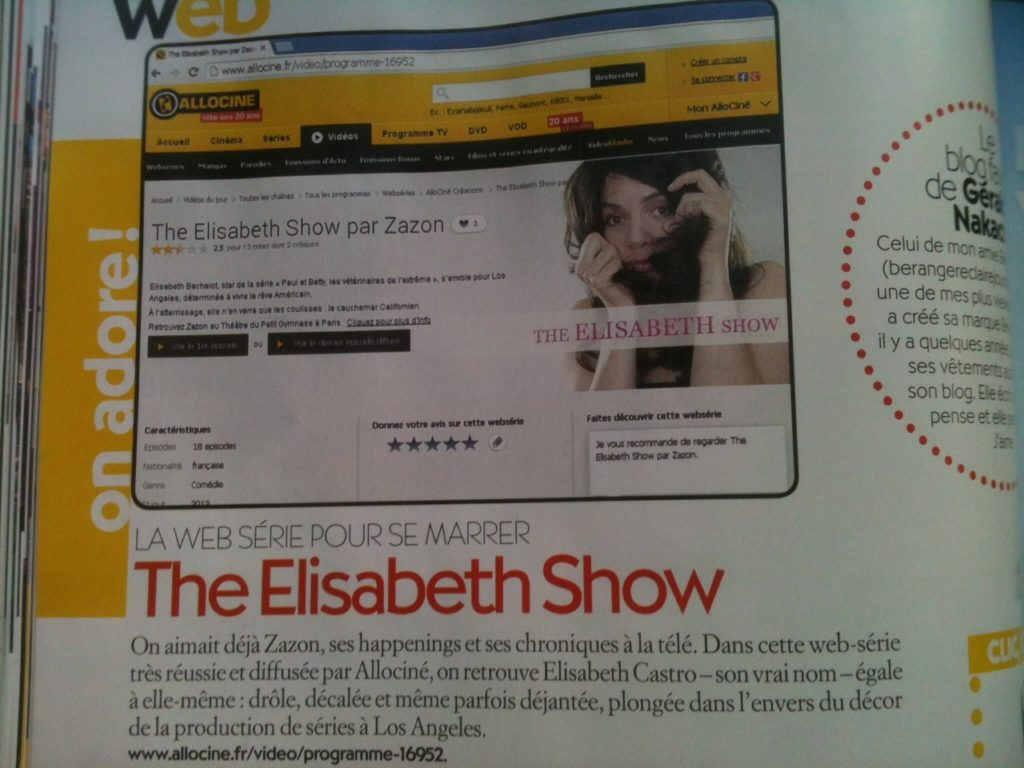 The Elisabet Show - Articles de Presse : ZAZON - https://zazon.fr
