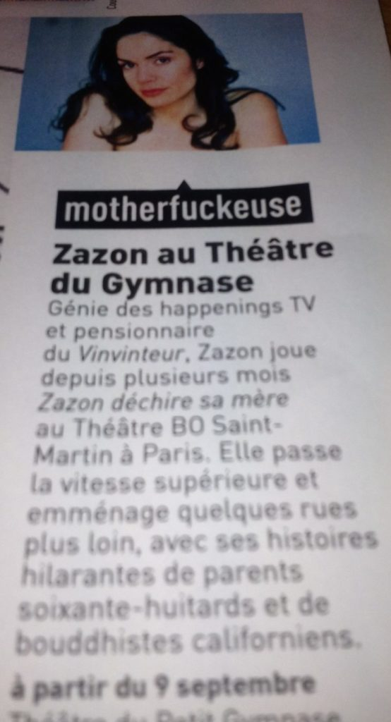 Magazine les inrock - Septembre 2013 - Articles de Presse : ZAZON Déchire sa Mére - https://zazon.fr